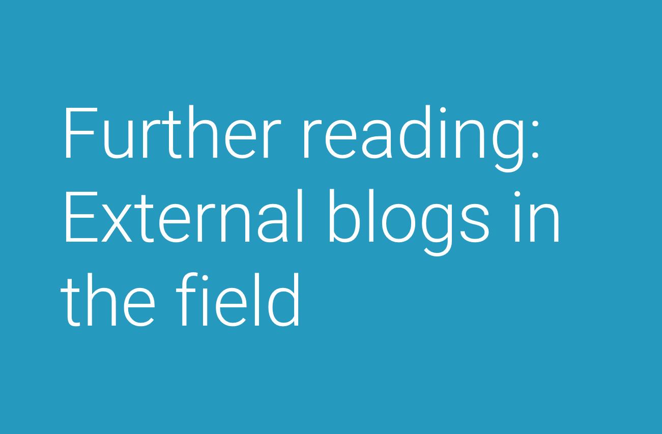 External blogs in the field